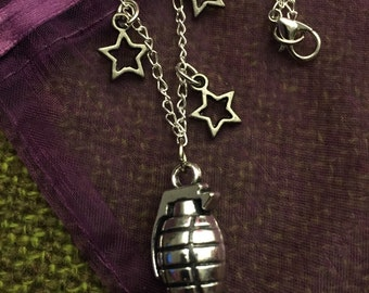 Grenade and Stars Necklace