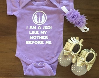 Jedi Star Wars. Like My Mother Before Me. Onesie. Baby. Rogue One. The Force Awakens. Baby Shower Gift. Present. Geek. Lightsaber
