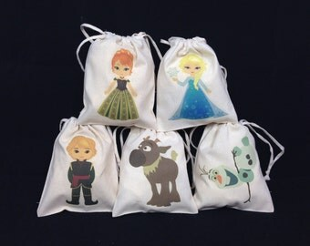 Snow Queen Party/Favor/Loot/Goody Drawstring Bags (Set of 5)
