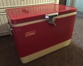 Vintage Red Colman Ice Chest with Metal Handles