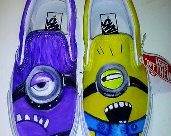 Custom Vans Shoes, unique and original, hand painted with Minions, number 38