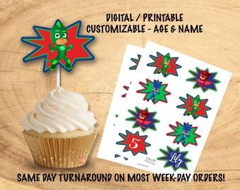 PJ MASKS CUPCAKE Toppers | Pj Masks Party Decorations
