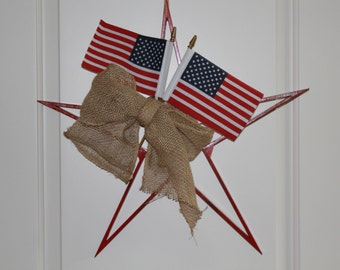 Patriotic Wood Star - Americana - Wood Star - July 4th - Memorial Day - Veteran's Day