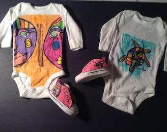 Hand-Painted Baby Onesies