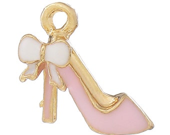 2 Pink High Heel Charms, Gold Plated Enamel (1L-116)