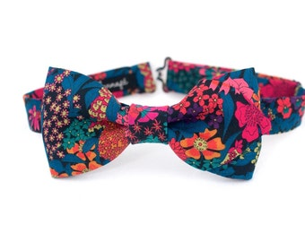 Bow tie in Liberty, pre-noue and adjustable, fuchsia flowers and orange