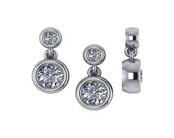 Dangle Diamond Earrings, Unique Diamond Earrings,Drop Diamond Earrings, Bezel Set Diamond Earrings, Diamond Earrings in 14k White gold.
