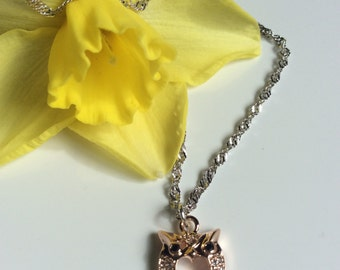 Sterling Silver Chain and Rose Gold Plated Owl Wish Necklace