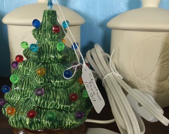 Small ceramic christmas tree, old fashioned christmas tree
