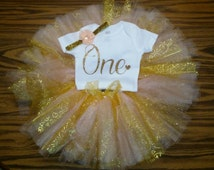 1st Birthday Girl Outfit, Girls First Birthday Outfit, First Birthday Outfit Peach and Gold, Cake Smash, Photo Prop, Personalized Tutu
