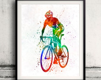 Woman triathlon cycling 05 INSTANT DOWNLOAD 8x10 inches poster watercolor sport illustration - SKU 1917