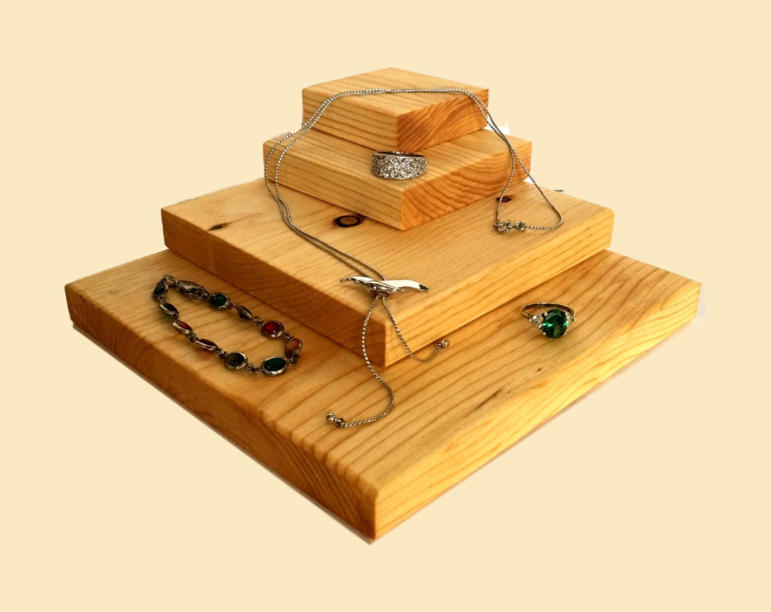 Wooden jewelry display riser rings necklaces bracelets for Jewelry displays
