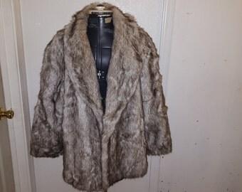 Black and white Vintage fur jacket Tissavel France