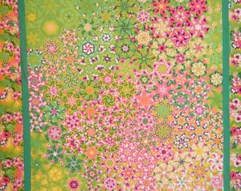 Unfinished Quilt Top, Wall Quilt, Pink Quilt, Pink, Kaleidoscope Quilt, Tapestries, Blanket, Bright Color Quilt, Pink & Green Quilt