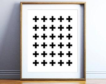 Swiss cross printable poster - swiss printable art poster - minimalist wall art - bold poster art - downloadable artwork - DIGITAL POSTER