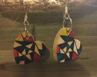Wooden heart earring
