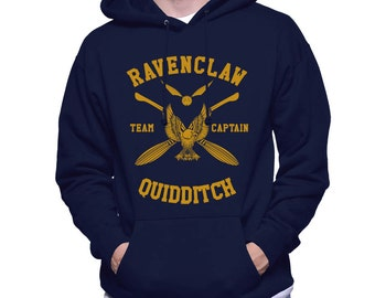 CAPTAIN - Ravencl Quidditch team Captain Yellow print printed on Navy Hoodie