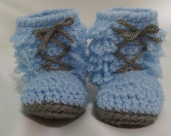 Blue Fringed Booties