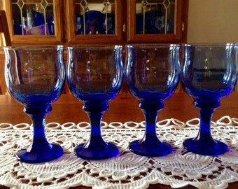 Blue Water Goblets With Stems - Set of Four