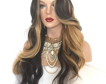 """Black Blonde Curly Lace Part Front Wig 22"""""""