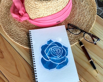 Hand Painted Spiral Journal; Collage Art on Wire Bound Blank Notebook; Writing Journal; Small Sketchbook; Abstract Rose Design