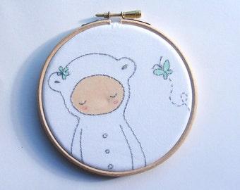 Bear With Butterfly, Kawaii, Hoop Art, Embroidery, Room Decor, Baby Gift, Nursery, Childrens Room, Wall Art, Animal, Kid's Room