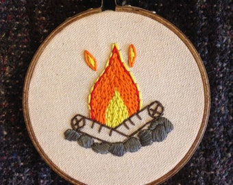 Small Fire embroidery hoop wall art