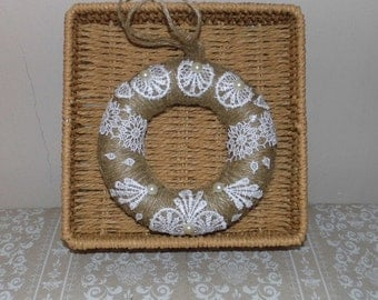 Shabby Chic Lace Hearts and Fleur Wreath