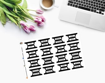 B&W Personal PLANNER TABS Stickers CAM00235-1