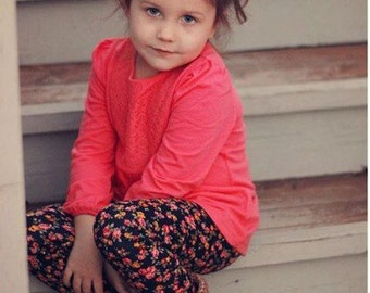 Infant and Toddler - Baby girls red and yellow floral print jersey knit leggings / pants