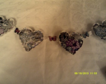 Boho Hearts and butterflies floral garland, bunting,decoration, blues and lilacs
