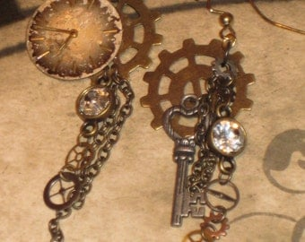 Brass & Silver Steampunk Sparkle Watchface Earrings