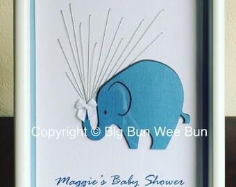 Elephant Baby Shower Fingerprint Keepsake Picture