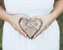 Rustic Wedding Ring box Ring bearer Moss Wooden Ring Box Ring Holder Country Wedding Decor Rustic Ring holder pillow Moss Heart