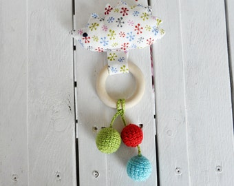 Hedgehog teething rattle~LanaNecklaces Toy~Gift for baby~Educational toy for babies~Crochet teething rattle