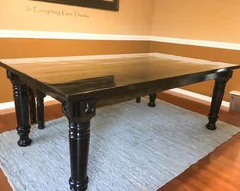 Classic Black Dining Table With Turned Legs Elegant Dining Table Hand Crafted Dining Table
