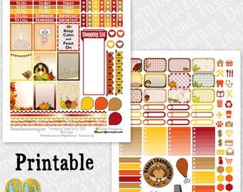 Thanksgiving printable planner stickers, monthly sticker kit, November Printable PDF / INSTaNT DOWNLOAD, turkey day, half box, full box