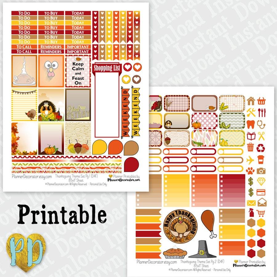 Printable Calendar Kit : Thanksgiving printable planner stickers monthly sticker kit