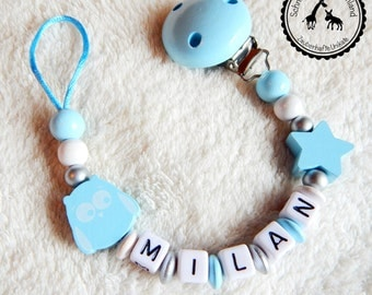 Dummy named OWL/star - baby blue/silver/white - many subjects - individual design -.