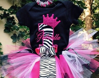 Pink Black Zebra 1st Birthday Crown Outfit Onesie Tutu FREE Hair Bow Personalized