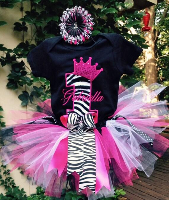 Pink Black Zebra 1st Birthday Crown Outfit Onesie Tutu FREE