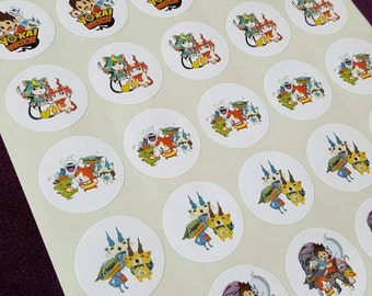 Yo Kai Watch, Thank You, Round Stickers, Birthday Party, Goody Bag, Favors Bags, Invitations, Labels, Favors, 30 Stickers