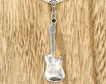 Strat Style Electric Guitar Pendant on Silver Tone Chain Necklace