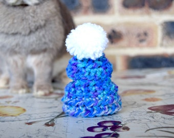 Pet bunny beanies, pet crochet hats, pet beanies, pet rabbit clothing and accessories, blue and grey