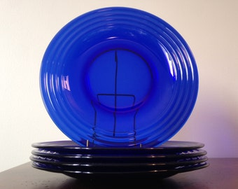 Pyrex Cobalt Blue Ringed Salad Plates - Set of 5 / Glass Lunch Luncheon Plates / 1980's Dinnerware / Dish Set