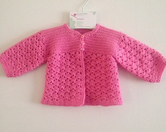 Cardigan 0-6 months Pink / Fondant Crochet Baby Girl cardigan, New baby gift, baby jacket, baby shower