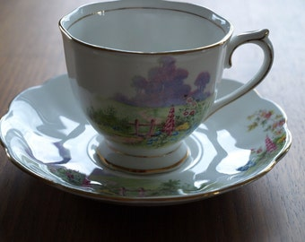 Royal Albert Pastoral Scene of the English Countryside Cup and Saucer 1950's Beautiful Pair