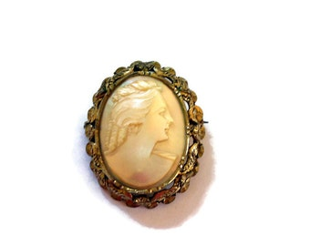 Vintage Sterling Silver Mother of Pearl Cameo Brooch with Hand Carved Cameo in Ornate Frame