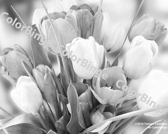 Tulips - adult greyscale coloring page