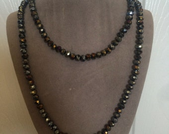 Metallic charcol OR jet black crystal beaded necklace